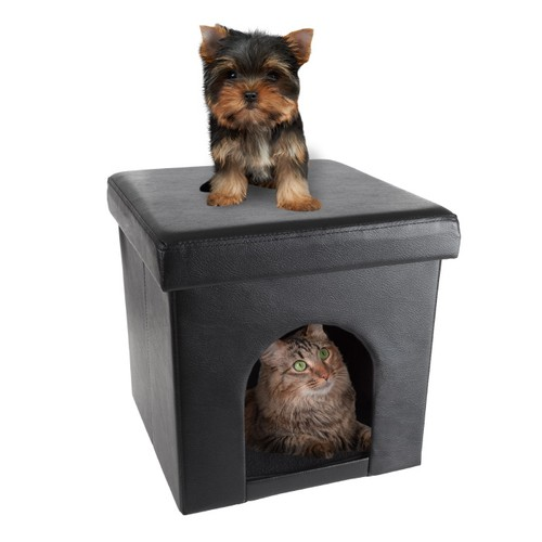 Faux Leather Pet House Ottoman- Collapsible Multipurpose