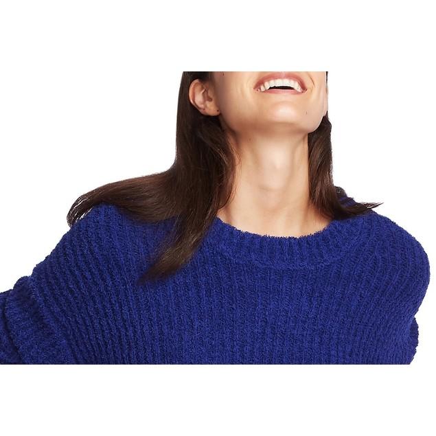 1.STATE Women's Mock Neck Terry Yarn Sweater Navy Sea Lt/Pasblue Size Small
