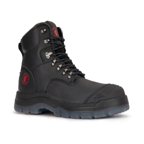 ROCKROOSTER Steel Toe Work Boots Zip-sided Black