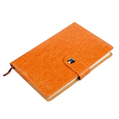 PU Leather Cover Notebook Memopad with Calendar World Map and Silk Ribbon