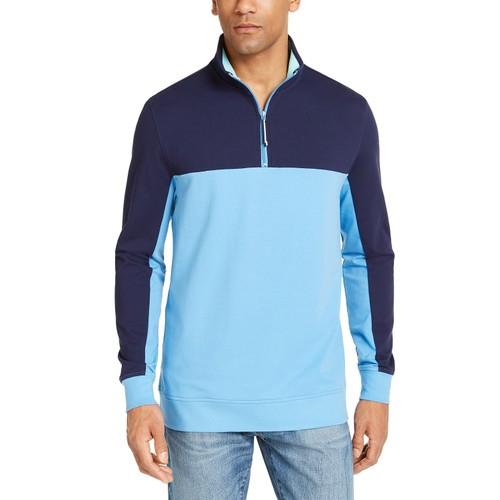 Club Room Men's Regular-Fit Colorblocked 1/4-Zip Sweatshirt Size Medium
