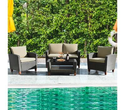Costway 8PCS Patio Rattan Furniture Set Solid Wood Leg Cushioned Sofa Garde Was: $1,479.99 Now: $839.99.