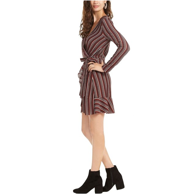 Crystal Doll Junior's Striped Wrap Dress Brown Size X-Small