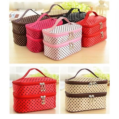 Polka Dot Two-Layer Cosmetic Makeup Bag