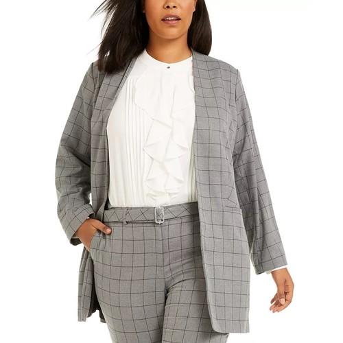 Calvin Klein Women's Plus Windowpane Topper Jacket Grey Size 18W
