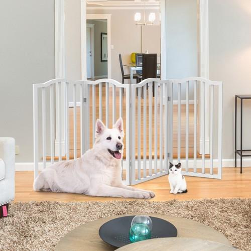 Wooden Pet Gate- Tall Freestanding 4-Panel Indoor Barrier Fence 72 x32 in