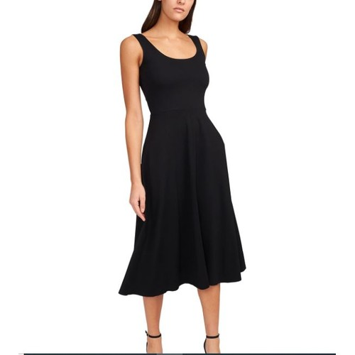 MSK Women's Solid Fit And Flare Midi Tank Dress Black Size Large