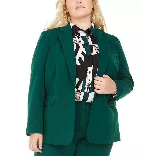 Bar III Women's Trendy Plus Stretch Blazer Medium Green Size 24W