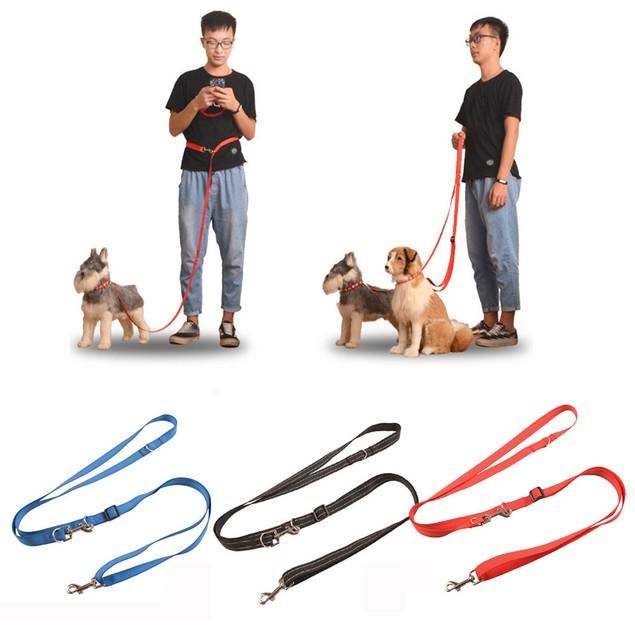 Double Dog Leash Braided Tangle Dual Nylon Leash Coupler For Training Dog