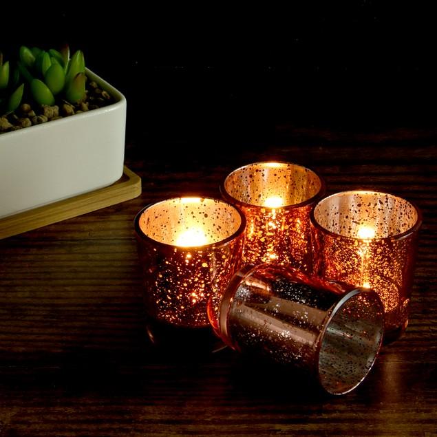 Set of 12 Speckled Tealight Candle Holders | MandW Rose Gold