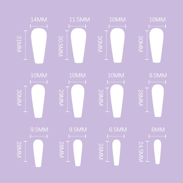 Long Ballet Nude Color Removable Nail Patch