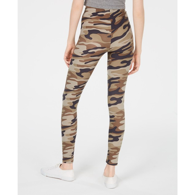 Planet Gold Juniors' Camo-Printed Brushed Jersey Leggings Green Size Small