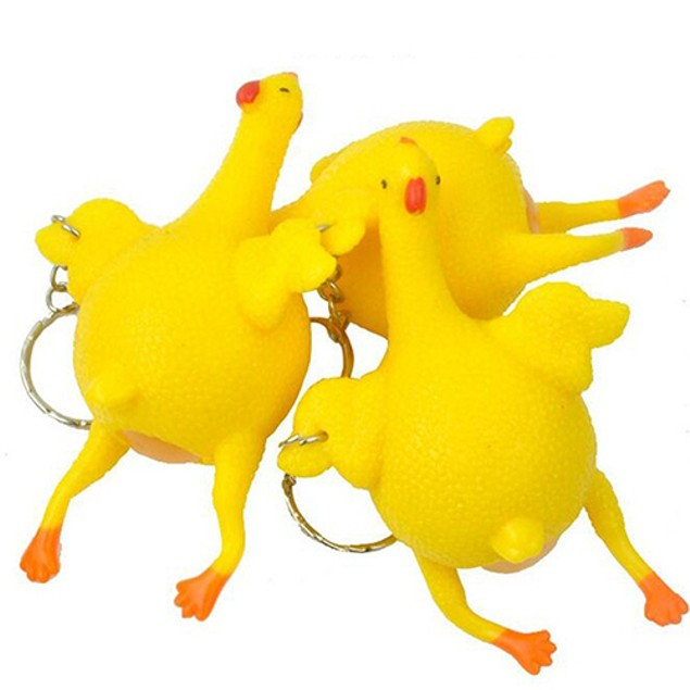 Egg Laying Plucked Bald Chicken Ball Stress Relief Reliever Halloween Toy
