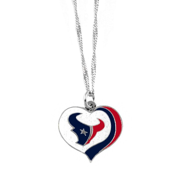 Houston Texans NFL Glitter Heart Necklace Charm Gift