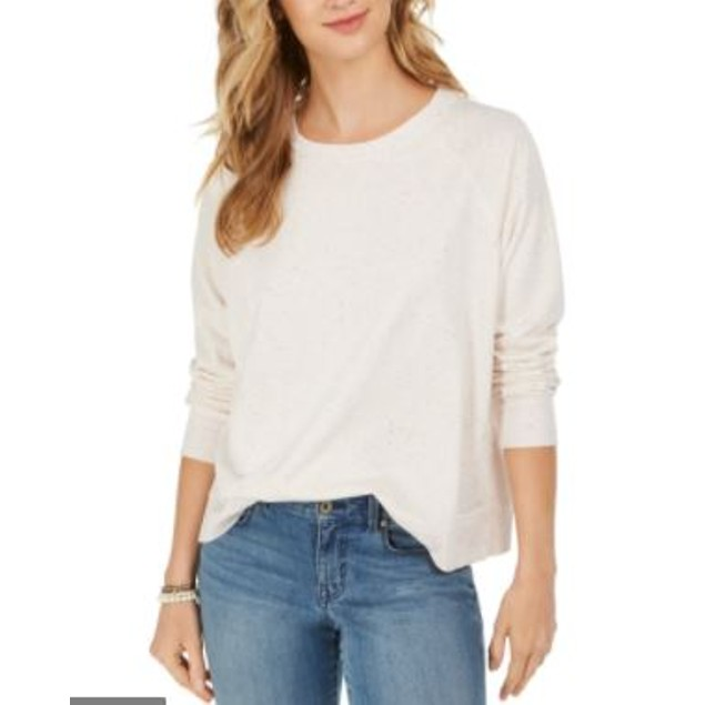Style & Co Women's Speckled Sweatshirt White Size Large