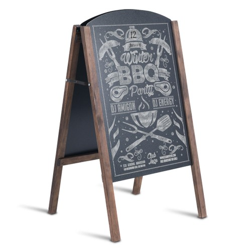 Costway 31.5'' Wood A-Frame Chalkboard Menu Sign Board Sidewalk Wedding Sig