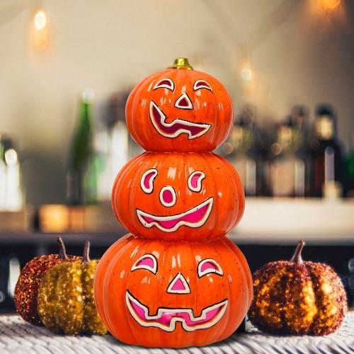 Costway 3-Tier Color-Changing Lighted Ceramic Pumpkin Lantern