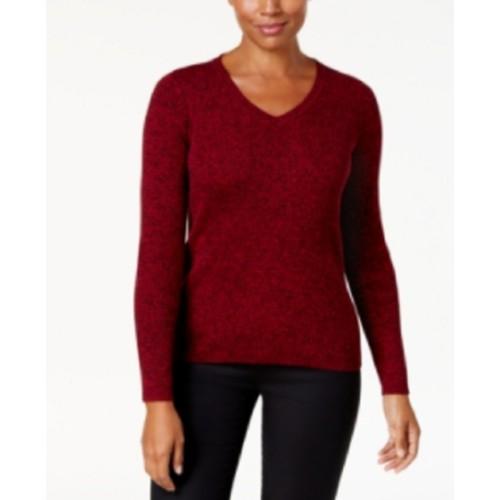 Karen Scott Women's Cotton V-Neck Sweater Red Size Extra Large