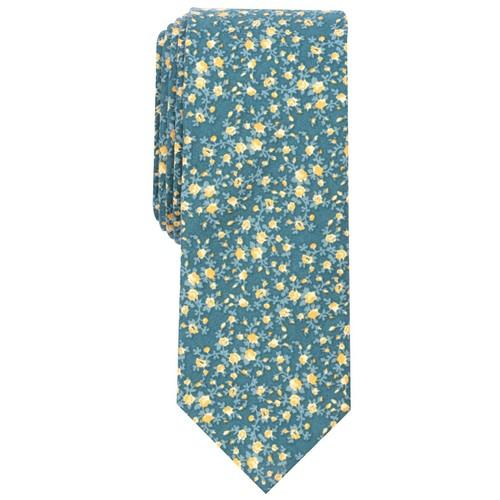 Bar III  Men's Watercolor Floral Print Skinny Tie  Navy Size Regular
