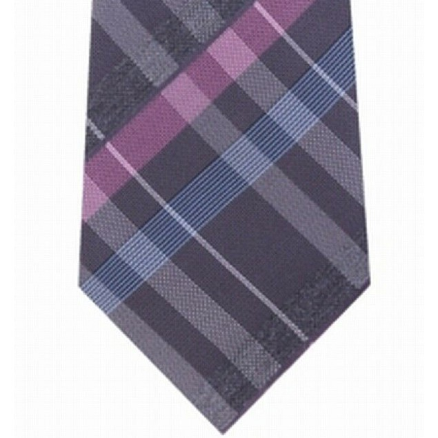 Kenneth Cole Reaction Men's Crossline Slim Plaid Tie Pink Size Regular