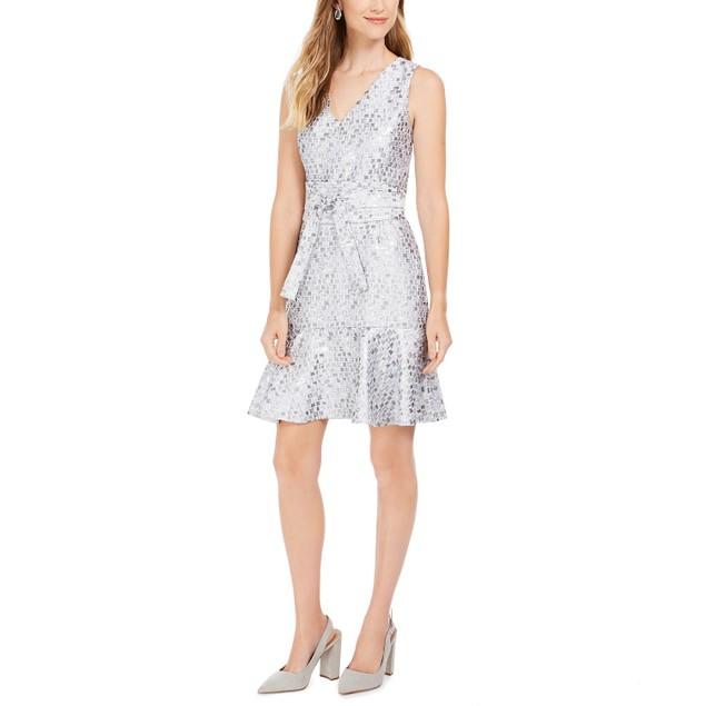 Natori Women's Mosaic Tile Obi Belt Ruffle Dress Silver Size 14