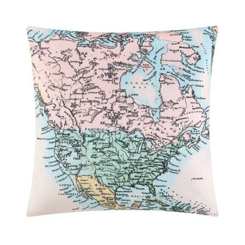 "Mainstays Decorative World Map Pillow Pink 16"" x 16"""