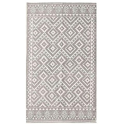 Oriental Gray Printed Canvas Handmade Area Rug 8x10 for Dining Room