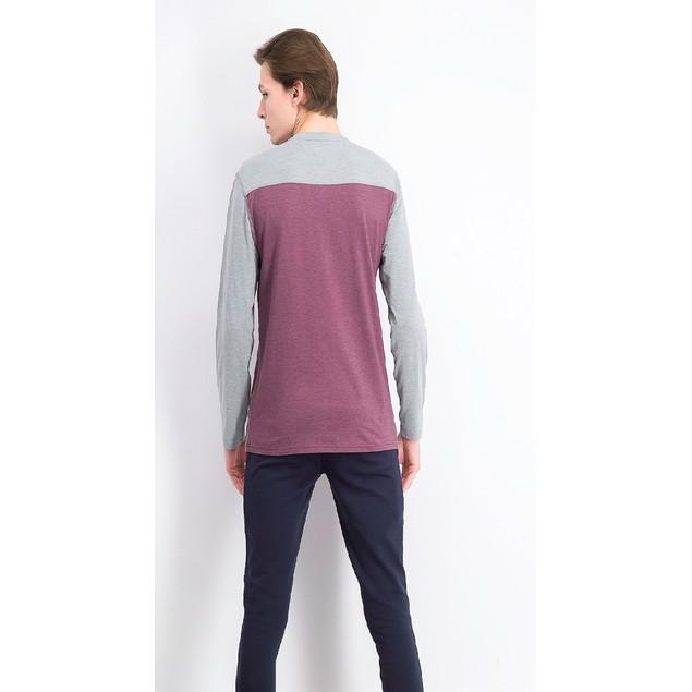 Greg Norman Men's Colorblocked Henley Shirt Wine Size XX-Large
