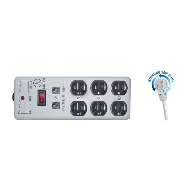 Surge Protector, Flat Rotating Plug, Power Cord 6 foot
