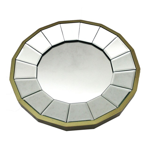 13 1/2 Inch Diameter Gold Finished Pie Plate Wall Wall Mounted Mirrors