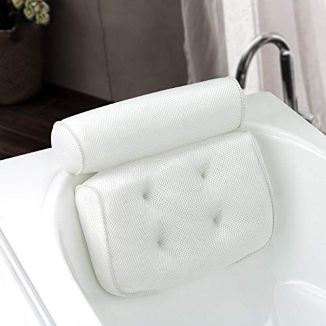 Bathtub Pillow Headrest Cushion for Head/Neck/Shoulder/Back with Non-Slip Suction Cups