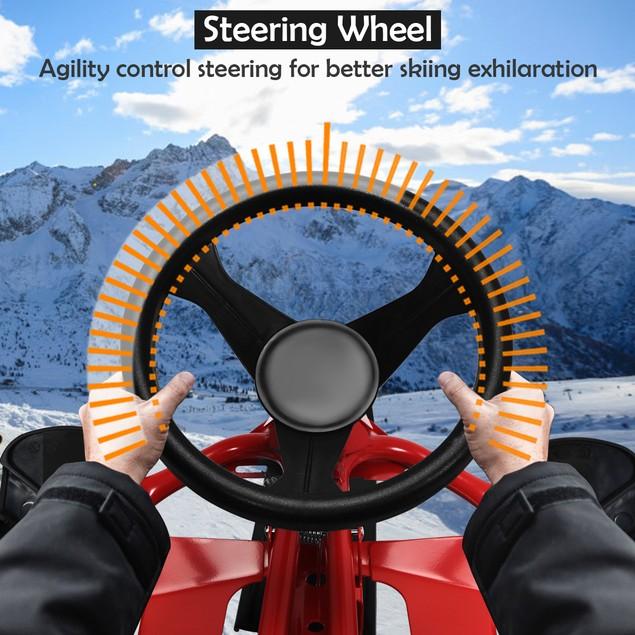 Costway Kids Snow Racer Sled Steering Wheel Double Brakes Pull Rope