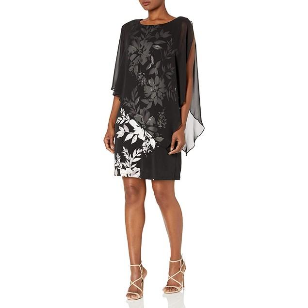 S.L. Fashions Women's Sleeveless Print Chiffon Overlay Dress, 6, Black