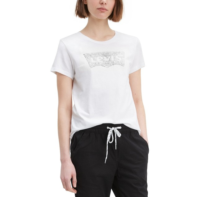 Levi's Wo The Perfect Tee Sequin Graphic T-Shirt White Extra Large