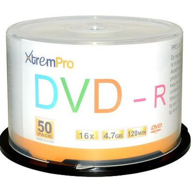 DVD-R 16X 4.7GB 120 Min DVD 50 Pack Blank Discs in Spindle Ready to USe