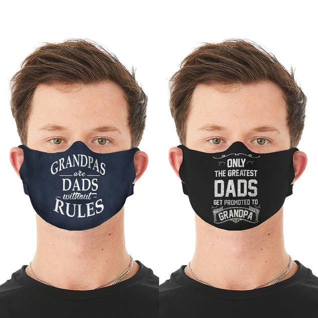 2-Pack Men's Funny Father's Day Washable, Reusable Face Masks