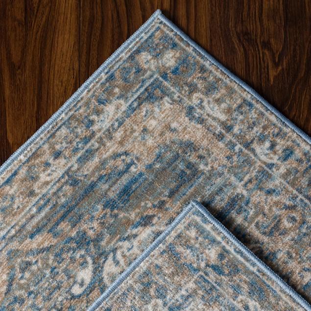 Orlinda Distressed Vintage Damask Indoor Area Rug