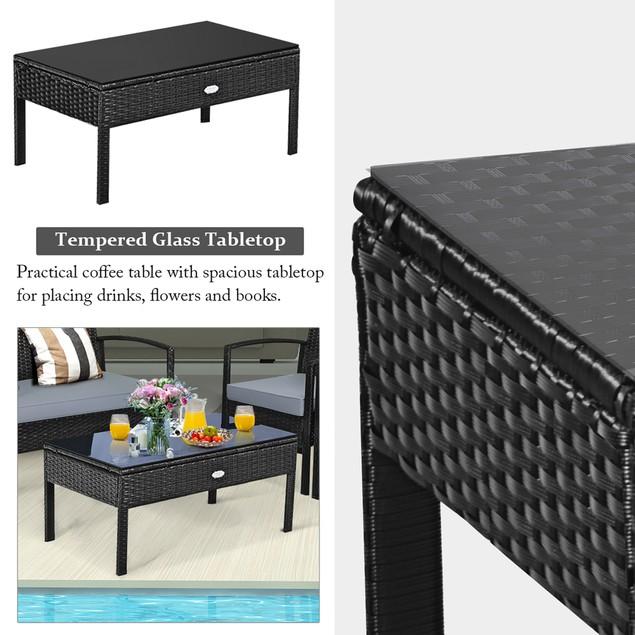 Costway 8PCS Patio Rattan Furniture Set Garden Deck