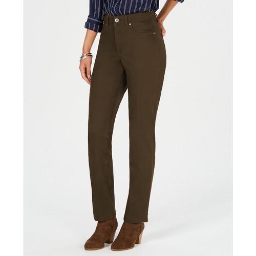 Style & Co Women's Rail Tummy-Control Straight-Leg Jeans Olive Size 18