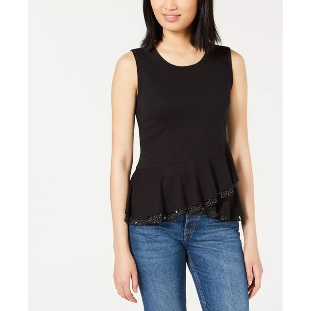 Maison Jules Women's Crossover Peplum Top Black Size X-Small