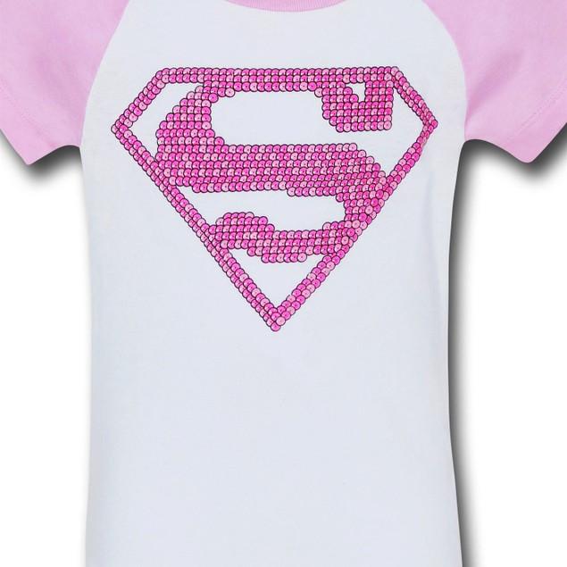 Supergirl Girls Pink Pattern Symbol T-Shirt
