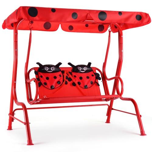 Costway Kids Patio Swing Chair Children Porch Bench Canopy 2 Person Yard Fu
