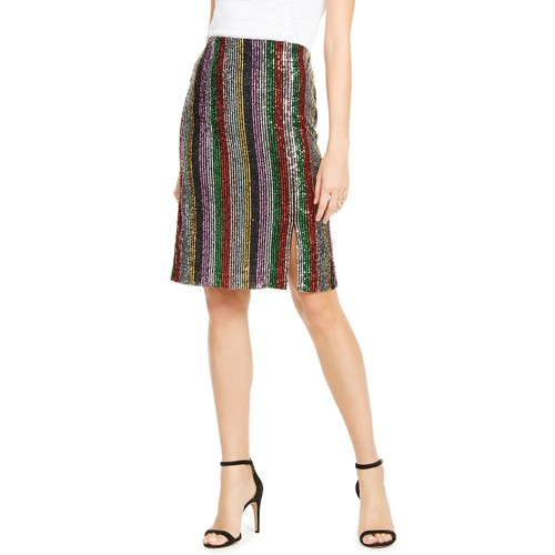 INC International Concepts  Women's Rainbow Sequin Skirt Black Size Large