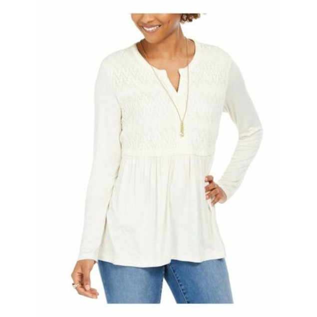 Style & Co Women's Lace-Front Draped Top Ivory Size Medium