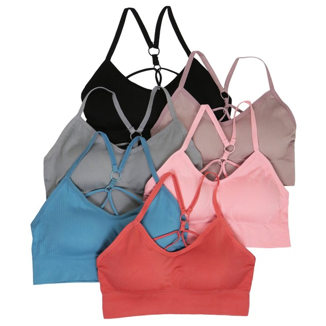 ToBeInStyle Women's 6-Pack Padded Ribbed Strappy Lounge Bralette | S-XL
