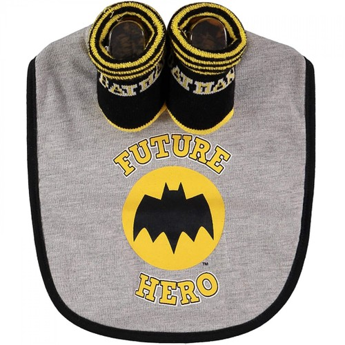 "Batman ""Future Hero"" 2-Piece Bib and Sock Set"