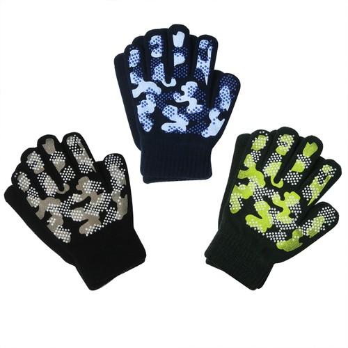 3-Pair Kids Camo Magic Stretch Gripper Gloves