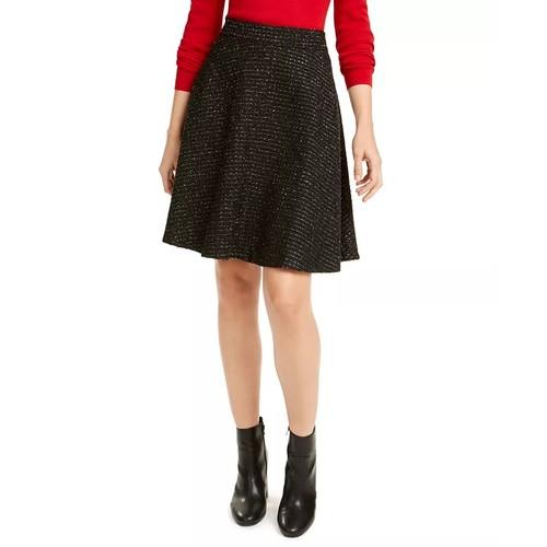 Maison Jules Women's Tweed A Line Skirt Black Size 14