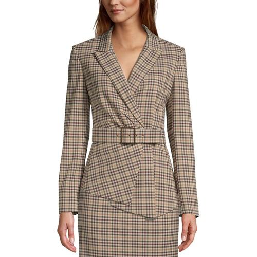 Tahari Asl Women's Belted Plaid Asymmetrical Blazer Brown Size 16