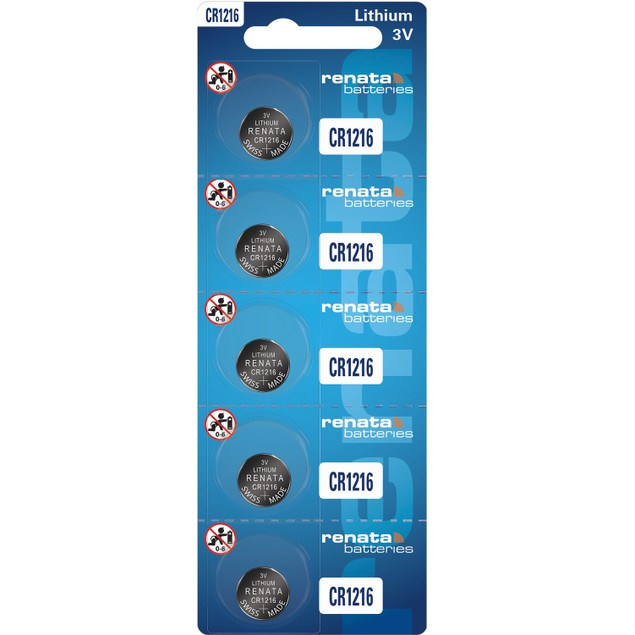 Renata CR1216 Lithium Coin Cell Batteries (5 Batteries)